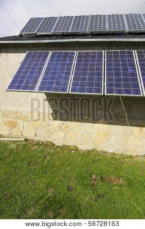 group of PV panels on the roof of a house in the Pyrenees