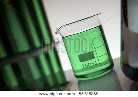 beaker with two hundred and fifty milliliters green liquid