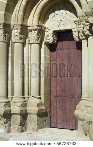 detail of the entrance to the Romanesque church of Santiago, aguero, Spain
