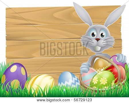 Wooden Sign Easter White Rabbit