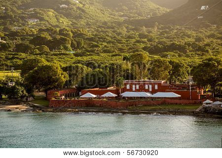 Old Red Fort On Green Coast Of St Croix