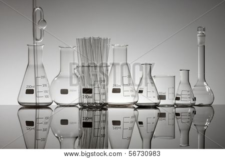 group of laboratory glass material on a white background