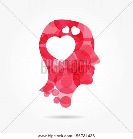 In Love - Man Bubble Head With Heart Instead Of Brain