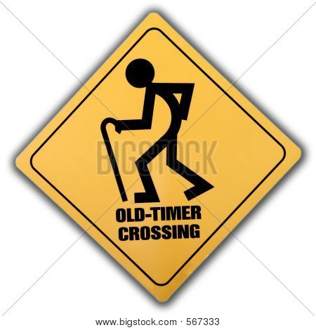 Old Timer Crossing Yellow Sign