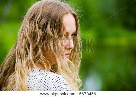 Sad Woman On Nature.