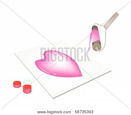 Paint Roller Screen Printing Heart On A Tiles