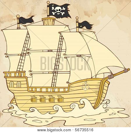 Pirate Ship Sailing Under Jolly Roger Flag In Old Paper