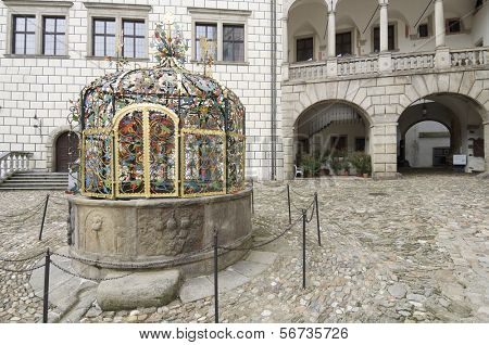 water well in Jindrichuv Hradec castle, the thirteenth century, southern Bohemia, Czech Republic