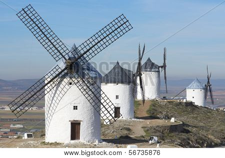 traditional windmills in Consuegra, Toledo, Castilla La Mancha, spain