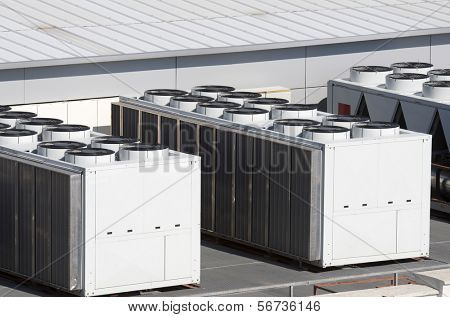 view on the roof of a building of a large air conditioning equipment