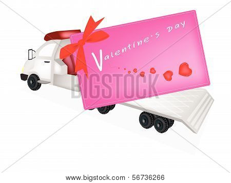 Tractor Trailer Flatbed Sending A Valentine Card
