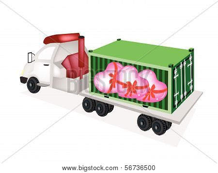 Flatbed Trailer Loading Lovely Hearts In Cargo Container