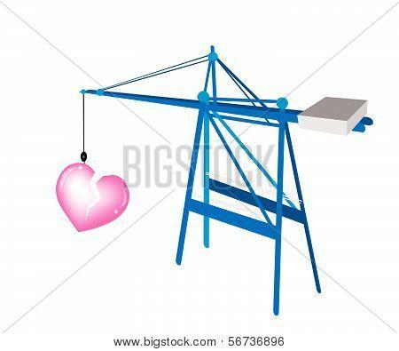A Blue Mobile Crane With A Big Broken Heart