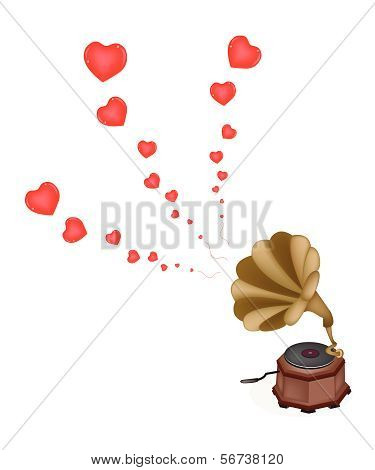 A Beautiful Vintage Gramophone Play Romantic Song