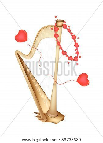 A Beautiful Golden Harp Playing Love Song