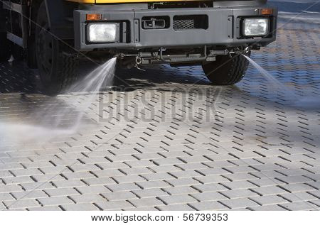 foreground of a cleaning machine for water spray