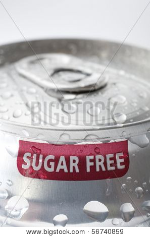 view of an aluminum can of sugar free soda