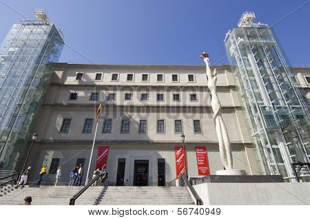 MADRID, SPAIN - JUNE 7: Reina Sofia on June 7, 2008 in Madrid: exterior view of the Reina Sofia Museum. This museum  is dedicated to the exhibition of modern and contemporary art.