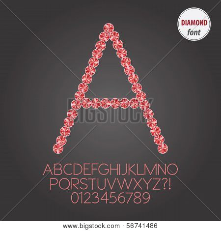 Red Diamond Alphabet And Digit Vector