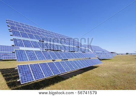 group of photovoltaic solar panels to produce renewable electrical energy
