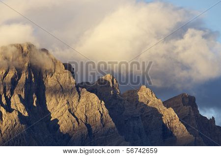 view telera dawn peak in the Pyrenees, Tena Valley, Huesca, Aragon, Spain