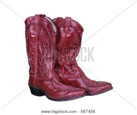Red Leather Worn Country Boots