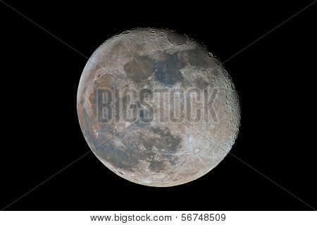 Waning Gibbous Moon Showing Subtle Color Differences Due To The Geological Nature Of Its Surface, Ca