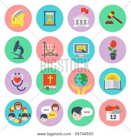 Modern Flat School Icons Set