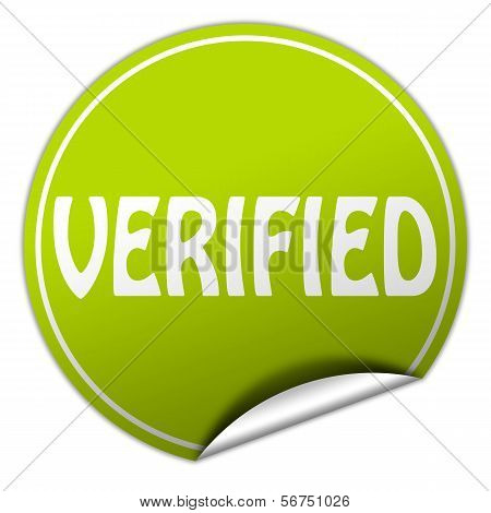 Verified Round Green Sticker On White Background