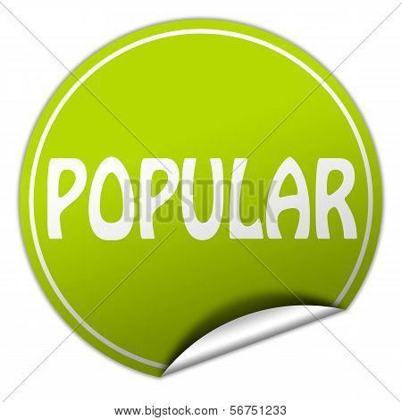 Popular Round Green Sticker On White Background