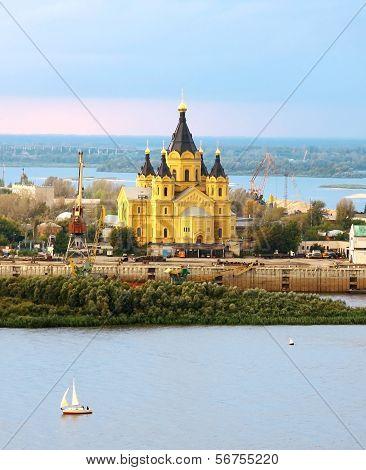 Alexander Nevsky Cathedral And Sailboat On Confluence Rivers Nizhny Novgorod