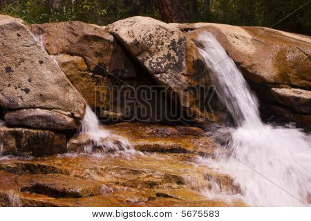 Small Sierra Waterfalls To Pond