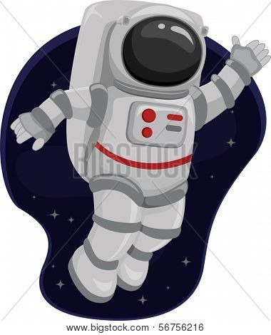 Illustration of an Astronaut Waving from Space