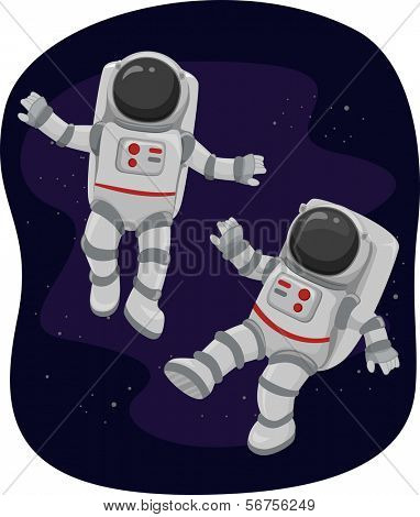 Illustration of Astronauts Floating in Space