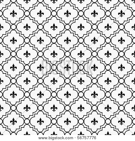 White And Black Fleur-de-lis Pattern Textured Fabric Background