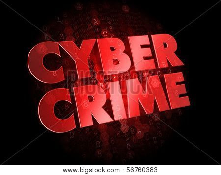 Cyber Crime on Dark Digital Background.