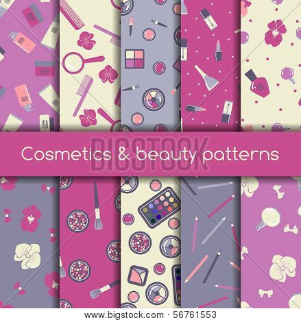 Cosmetics And Beauty Seamless Patterns