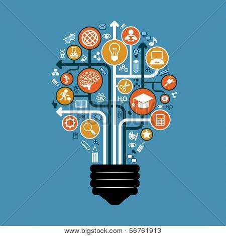 Set of icons and arrows on education form a light bulb. The concept of effective modern training. Background vector illustration