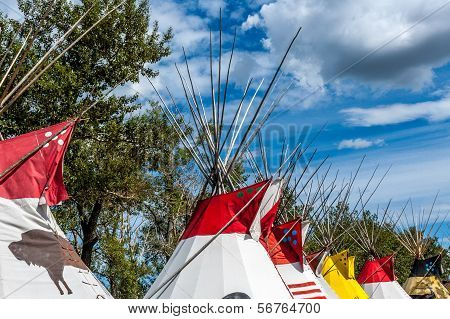 Blackfoot plains Indian tepees