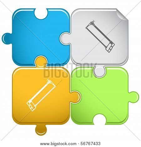 Hacksaw. Raster puzzle.