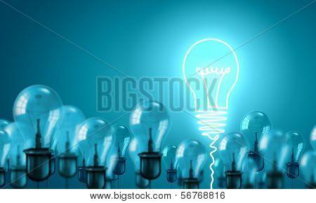 Konzeptionelle Bild des elektrischen hängenden Lampen. Idee-Konzept