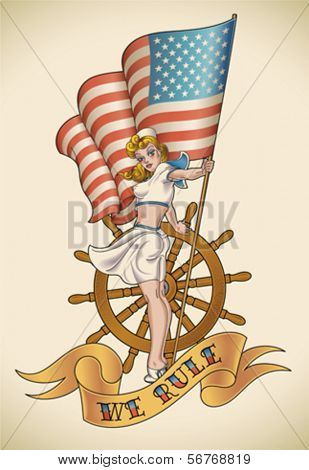 Old-school tattoo of a pinup lady with the flag in her hand. Editable vector illustration.