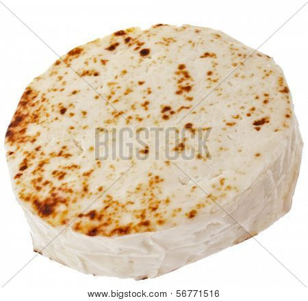 Karelian curd cheese round wheel,  isolated on white background