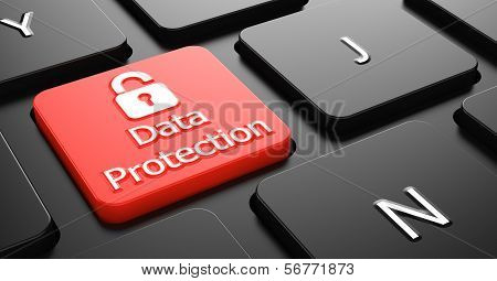 Data Protection on Red Keyboard Button.