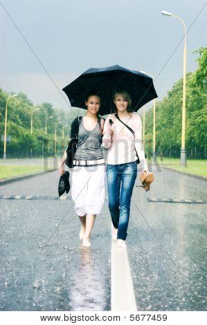 Two Women In A Heavy Rain