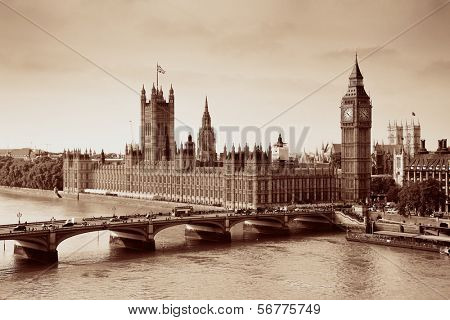London Westminster with Big Ben and bridge.