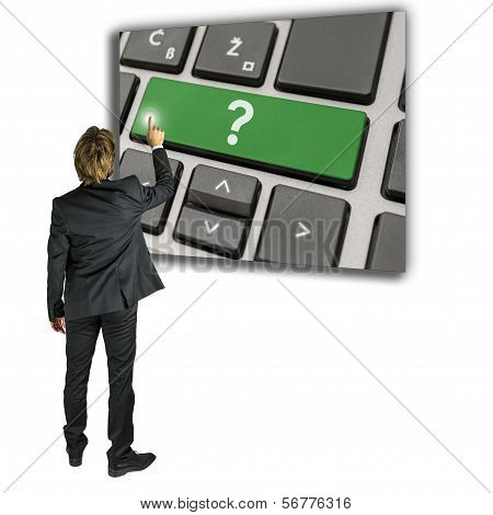 Man Activating A Question Mark On A Keypad