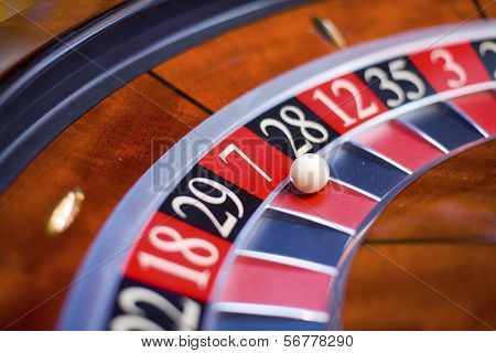 Macro shot of roulette segment in casino.