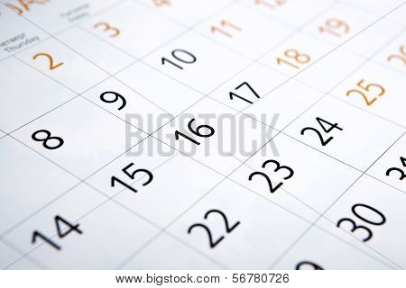 Sheet Of A Calendar With The Number Of Days