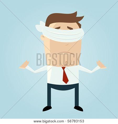 blindfolded cartoon man
